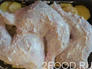 Маринованные окорочка выложить на картошку.